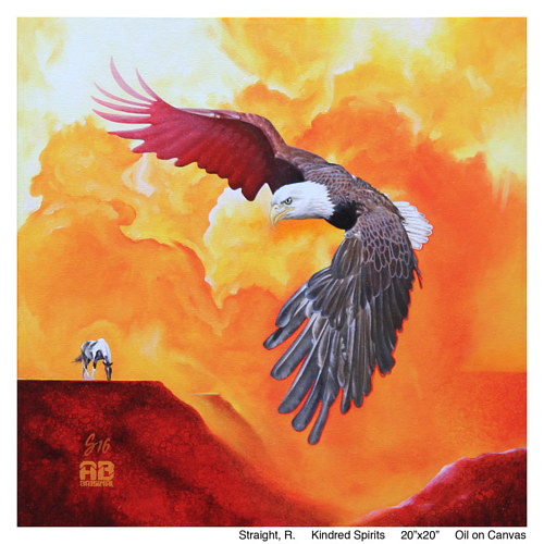 A painting of an eagle soaring through a golden sky