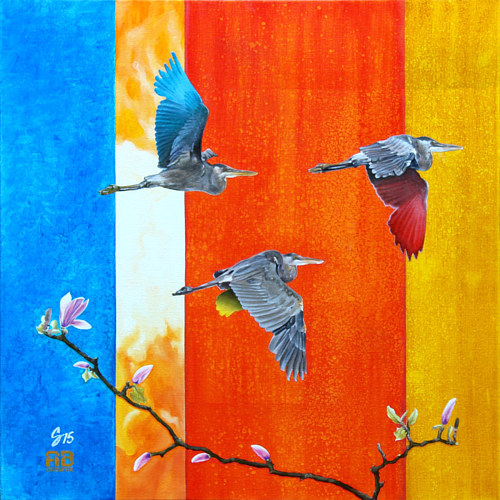 A painting of some small birds flying on an abstract background