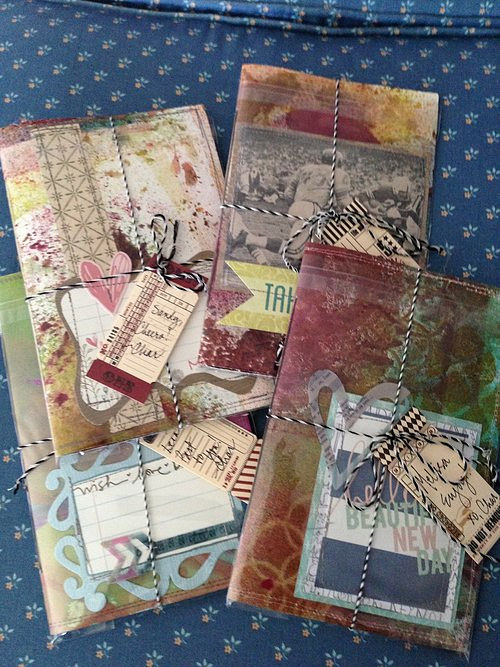 A photo of some handmade textile journals