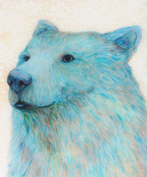 A drawing of a bear in deep cyan tones