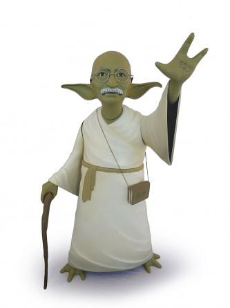 A sculpture of Ghandi made to look like Yoda from Star Wars