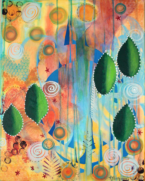 An Abstracted Painting Of Some Plant Forms On A Colorful Background