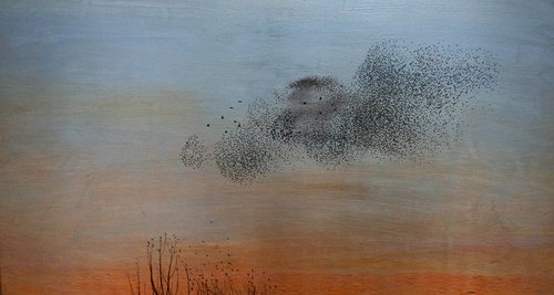painting of flock of birds