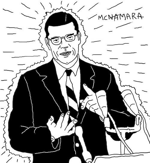 A black and white drawing of a man giving a speech