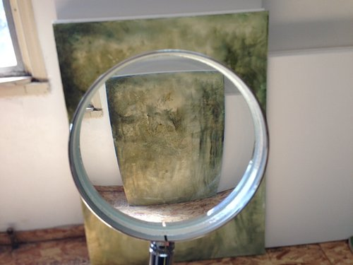 a painting seen through a magnify glass