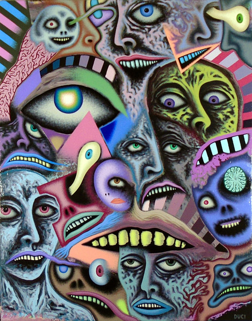 A painting featuring many bizarre human faces