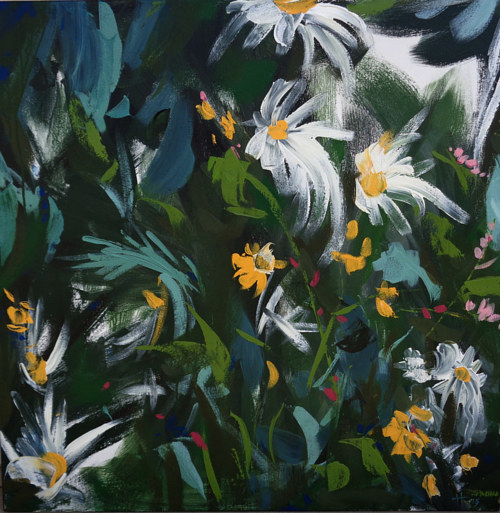 An abstracted painting of daisies on a green background