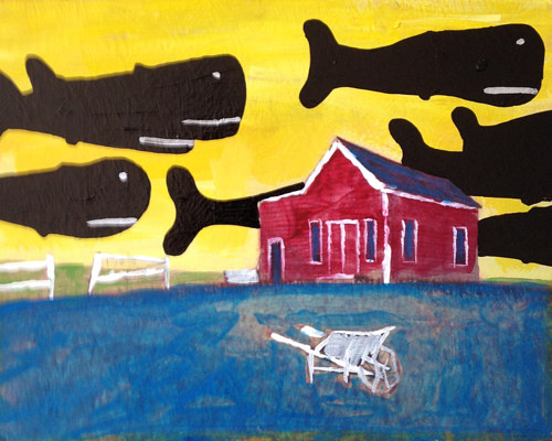 A painting of a farmhouse with silhouetted whales in the sky