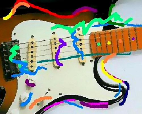 An edited photo of a Fender guitar