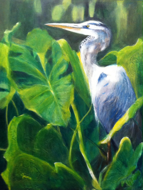 A painting of a heron among green foliage