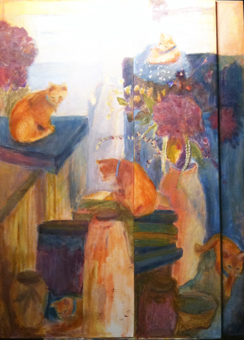 A painting of two orange cats in a room