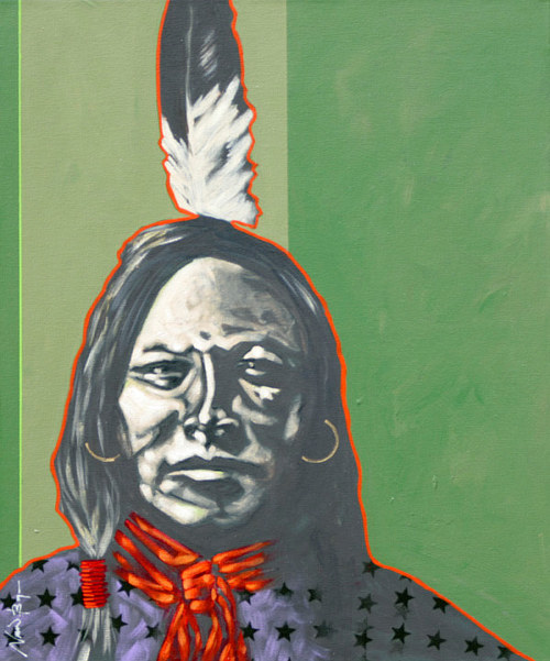 A painting of a Lakota woman in a star shirt