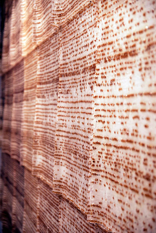 A wall-hanging installation made with rust pigments