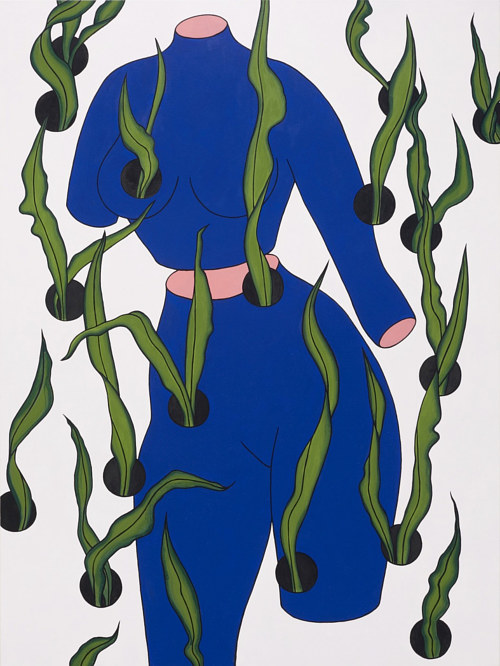 A painting of a blue figure with leaves emerging from it