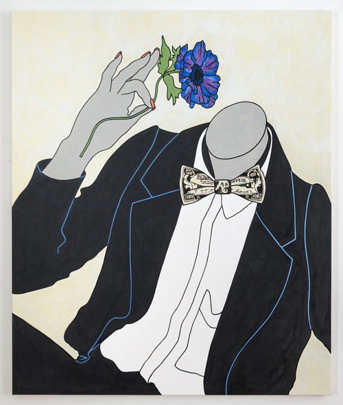 A painting of a headless figure in a suit