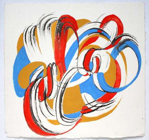 An abstract artwork with primary colors