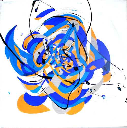 An abstract painting in blue and yellow