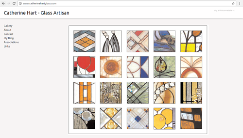 The front page of Catherine Hart's art website
