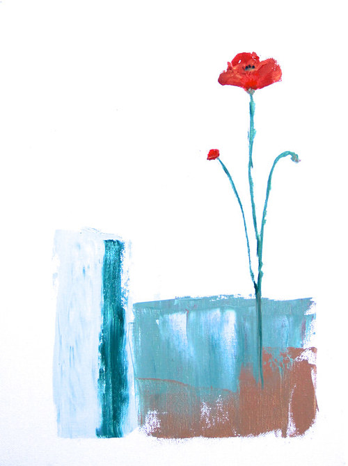 A painting of a poppy on an abstract background