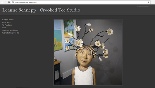 A screen capture of the front page of Leanne Schnepp's art website
