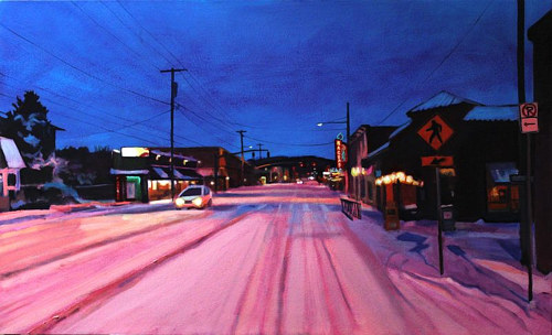 A painting of a snowy street bathed in pink light