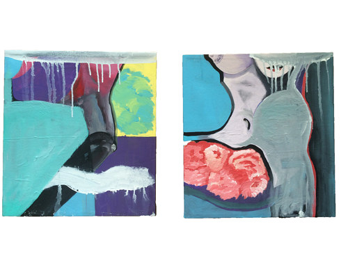 An abstract diptych painting
