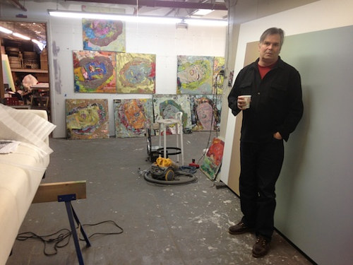 A photo of Rob Pruitt in his studio