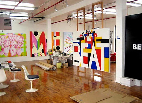 A photo of Deborah Kass' art studio