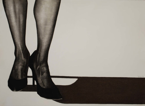 A charcoal drawing of female legs in stockings