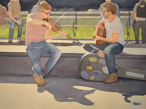A watercolor painting of two men playing music in a park