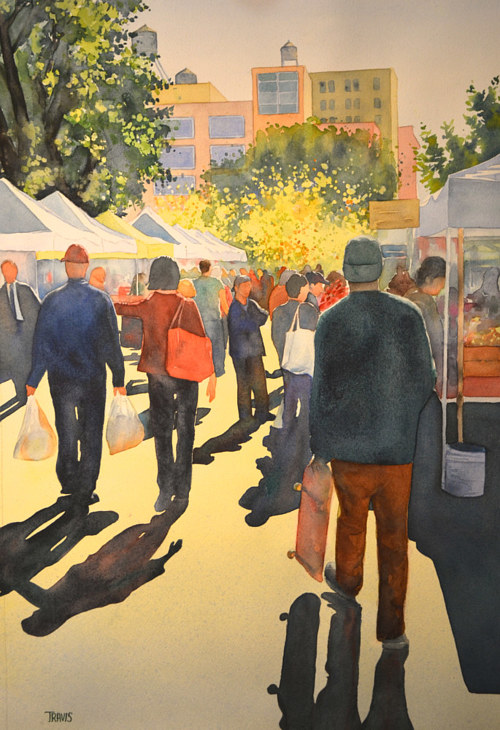 A watercolor painting of people shopping at an outdoor market