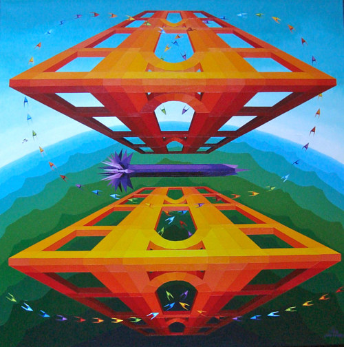 A painting of three-dimensional abstract structures