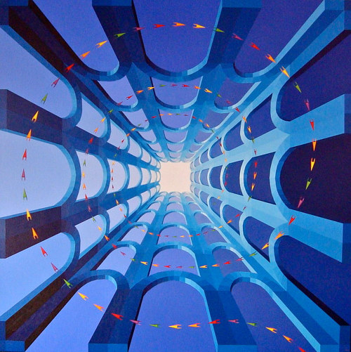 An abstract painting of a blue three-dimensional structure
