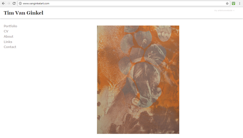 A screen capture of Tim Van Ginkel's art website