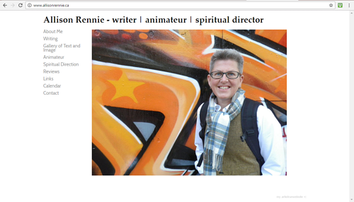 The front page of Allison Rennie's art website