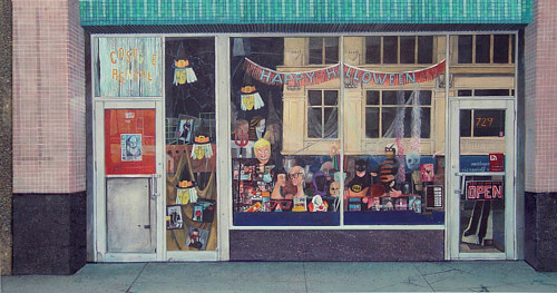 A painting of a Halloween shop front