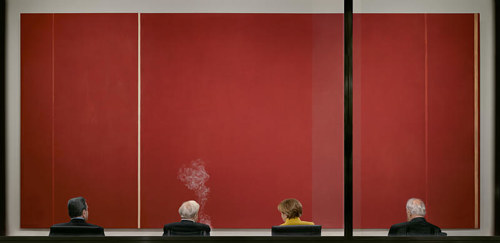 A photograph by Andreas Gursky featuring a Barnett Newman work