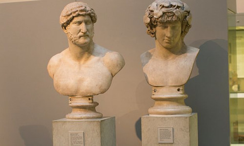 Marble busts of Antinous and Emperor Hadrian at the British Museum
