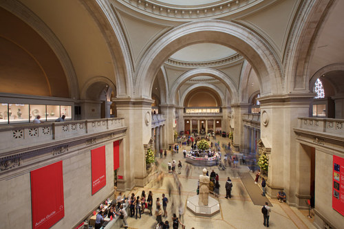 A photo of the Great Hall inside the Met Museum
