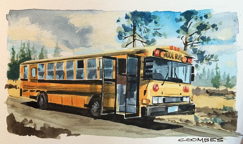 A painting of a school bus