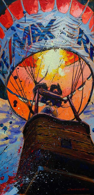 A painting of the flame in a hot air balloon