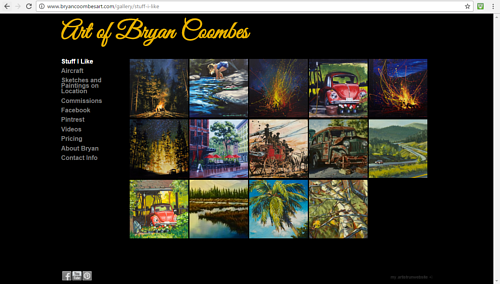 A gallery of paintings on Bryan Coombes' art website