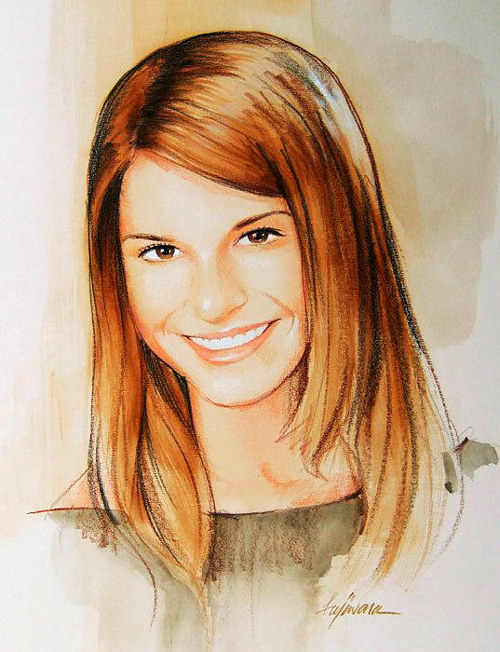 A watercolor portrait of a young woman