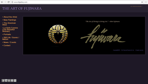 A screen capture of Kim Fujiwara's art website