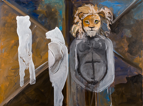 A painting of a lion with ghostly human figures