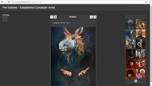 A screen capture of Pat Sollow's online painting gallery