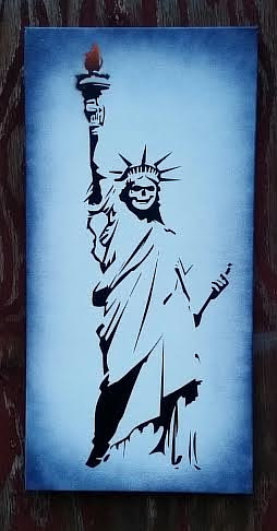 A stencil spray painting of the statue of liberty