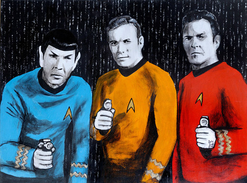 A paining of the three main characters of Star Trek