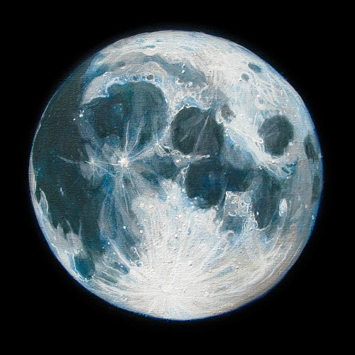 A painting of the moon on a black background