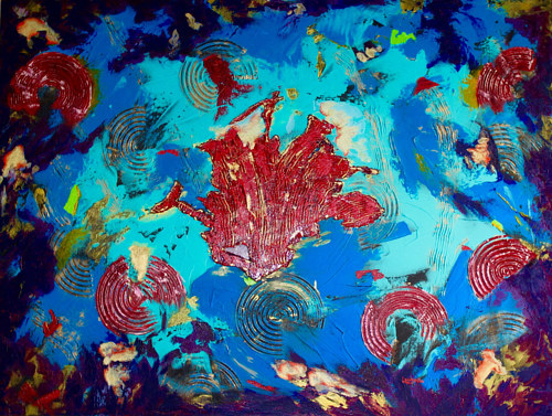 An abstract painting expressing the feel of an undersea landscape